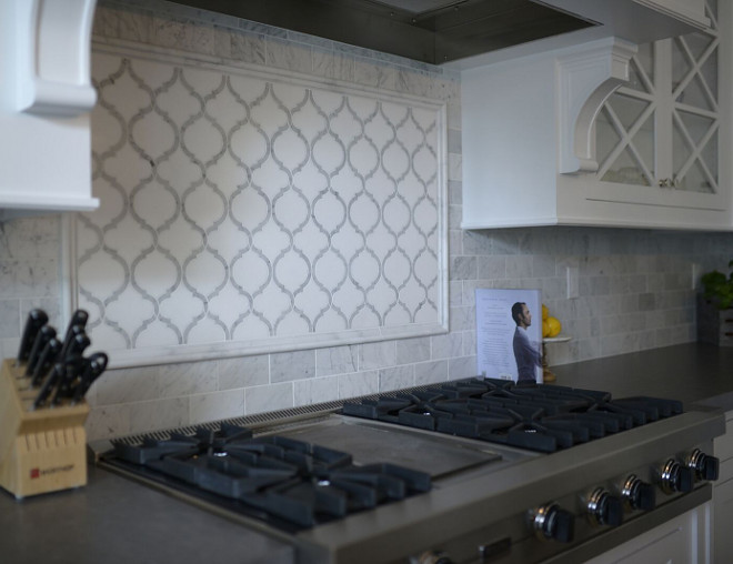 "Rangle Backsplash. Backsplash. Range mosaic is 24""x44"" Custom Toledo Pattern Carrara and Thassos Marble. Remaining backsplash is 3""x6"" honed Carrara subway tile #Backsplash #kitchenbacksplash range-backsplash #rangebacksplash  Eye for the Pretty"