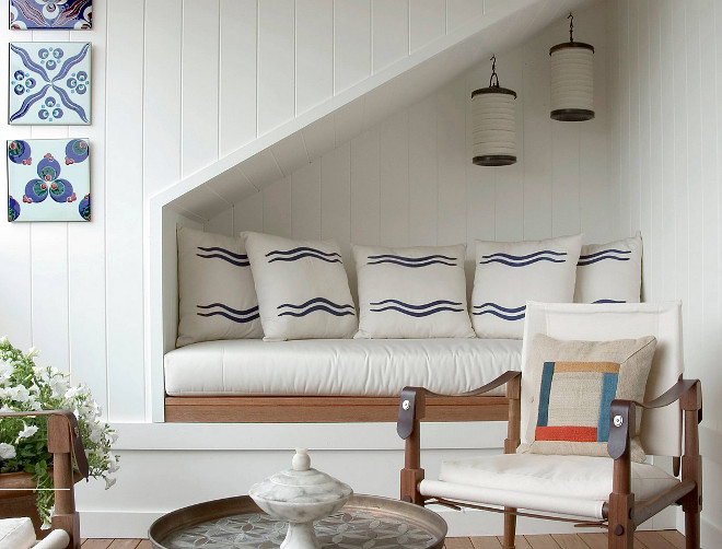 Reading nook under staircase. Coastal Reading nook under staircase with shiplap walls. #Readingnook #understaircase #shiplap reading-nook-under-staircase Sara Bengur Interiors