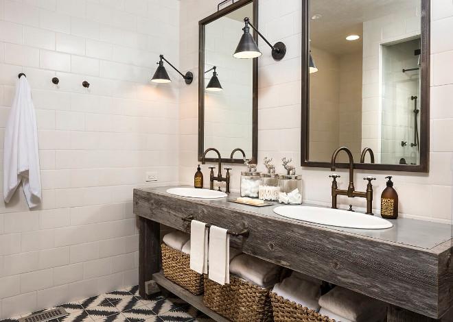 Reclaimed wood double vanity. Bathroom reclaimed wood double vanity. Rustic reclaimed wood double vanity. #Bathroom #reclaimedwood #doublevanity #reclaimedwoodvanity #Rusticreclaimedwoodvanity Tiffany Farha Design