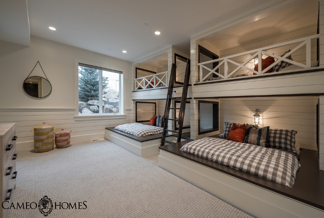 Shiplap Bunk room. Bunk room with shiplap walls. Shiplap Bunk room and shiplap behind bunk beds. Shiplap Bunk room. #Shiplap #Bunkroom #bunkbeds #shiplapbunkroom Cameo Homes