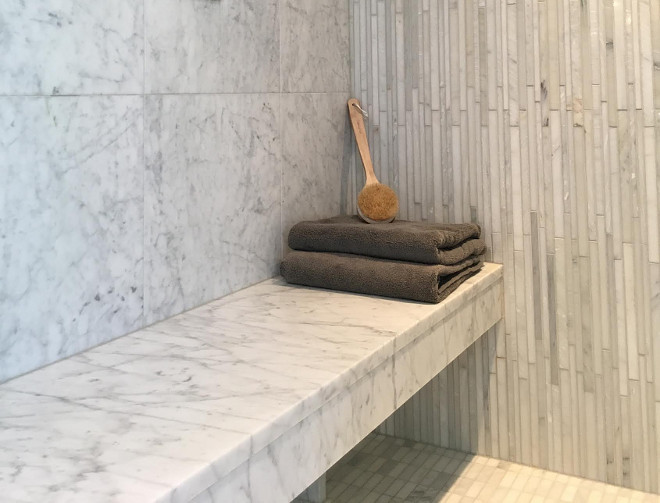 Shower Bench. Marble Slab Shower Bench Shower Bench Seat: Honed Carrara Marble. #Showerbench #marbleslabbench #shower #bench Beautiful Homes of Instagram Sumhouse_Sumwear