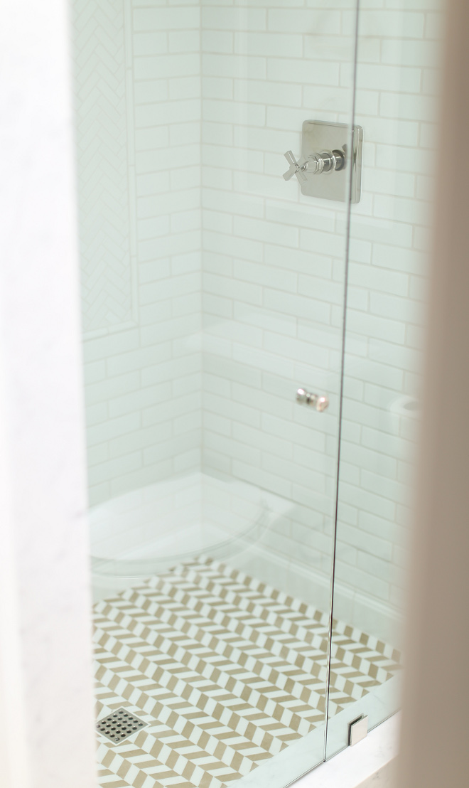 Shower Herringbone floor tile and subway wall tile. Shower with Herringbone Tile: White thassos and Bordeaux Jaune limetsone. Wall Tile: 2x4 hand pressed subway tile. #herringbone #shower #tile #subwaytile Winkle Custom Homes. Melissa Morgan Design. Ryan Garvin Photography