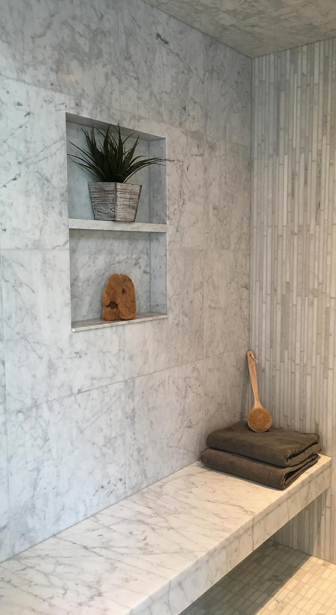 Shower Niche. Shower Marble Niche. Shower shampoo niche. Shower niche #Shower #niche Beautiful Homes of Instagram Sumhouse_Sumwear