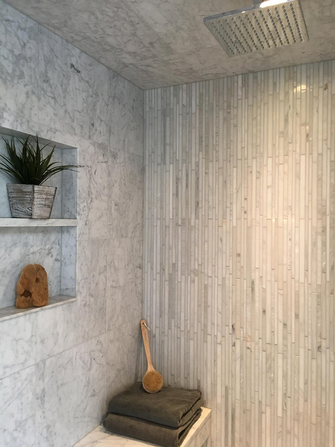 Shower Tile. Shower Feature Wall Tile is Polished Carrara from The Tile Shop. Shower Tile Combination. Shower Tile #Shower #Tile #ShowerTile Beautiful Homes of Instagram Sumhouse_Sumwear