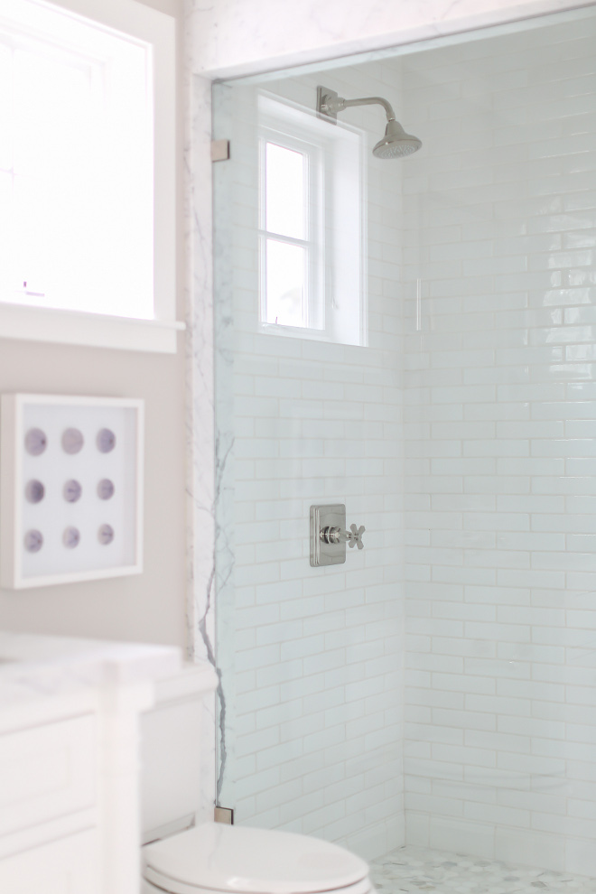 "Shower glass. Shower glass. Shower glass is Starfire ½"" shower glass (low iron) for clear view. #showerglass #shower #glass Winkle Custom Homes. Melissa Morgan Design. Ryan Garvin Photography"