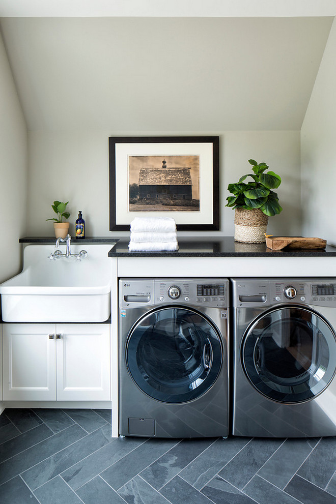 Laundry Room Nook. Laundry Room Nook with slate tile. #LaundryRoomNook slate-herringbone-tile