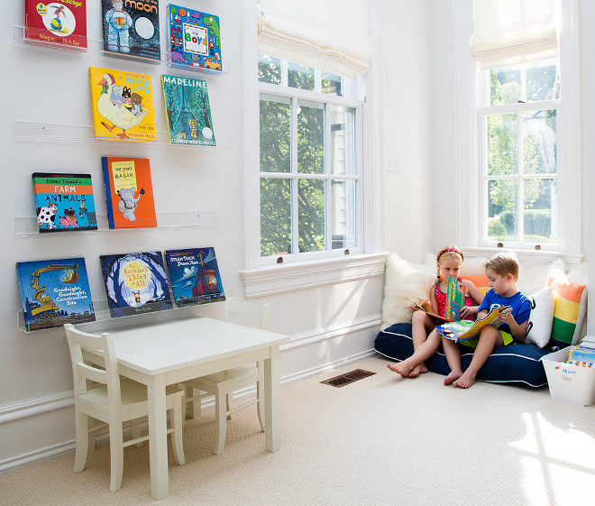 Small playroom. Small playroom. Keep walls in a neutral color, use small furniture and hang bookshelves on walls to leave more floor space for playing and reading