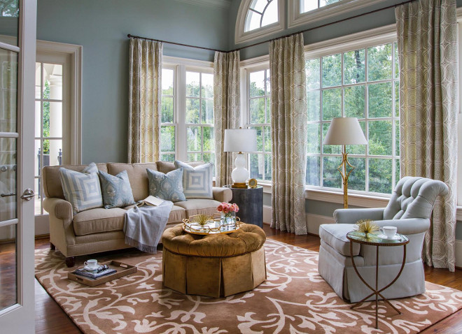 Tailored living room with blue gray walls painted in Benjamin Moore Gray Wisp. tailored-living-room-with-blue-gray-walls-and-floor-to-ceiling-windows-livingroom-bluegray-floortoceiling-windows Benjamin Moore Gray Wisp #BenjaminMooreGrayWisp Home Bunch Beautiful Homes of Instagram bluegraygal