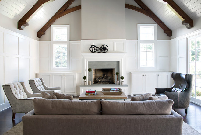 Living Room Paint Color The Wood Wainscot Is Painted Benjamin Moore White Dove Upper Walls And Ceiling Are