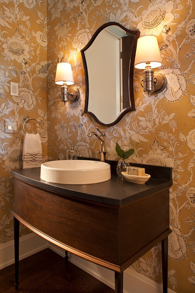 Powder room. I love rooms that speak for themselves without being loud. What a classic space! The wallcovering is Thibaut Rittenhouse. #powderroom #wallcovering #Thibaut #Rittenhouse thibaut-rittenhouse-powder-room-wallpaper-is-thibaut-rittenhouse-thibautrittenhouse Vivid Interior Design. Hendel Homes