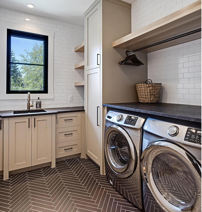 transitional-laundry-room-with-herringbone-floor-tile-and-floating-shelf-above-drying-rod-verandainterior