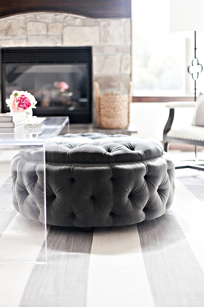 Tufted ottoman. Living room with grey tufted ottoman. Grey tufted ottoman. tufted-ottoman #greytuftedottoman #tuftedottoman #livingroomtuftedottoman LIV Design Collective