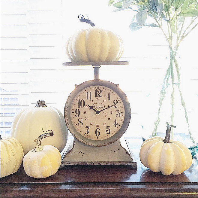 vintage-scale-and-white-pumkins-easy-way-to-decorate-for-fall thedowntownaly via Instagram.
