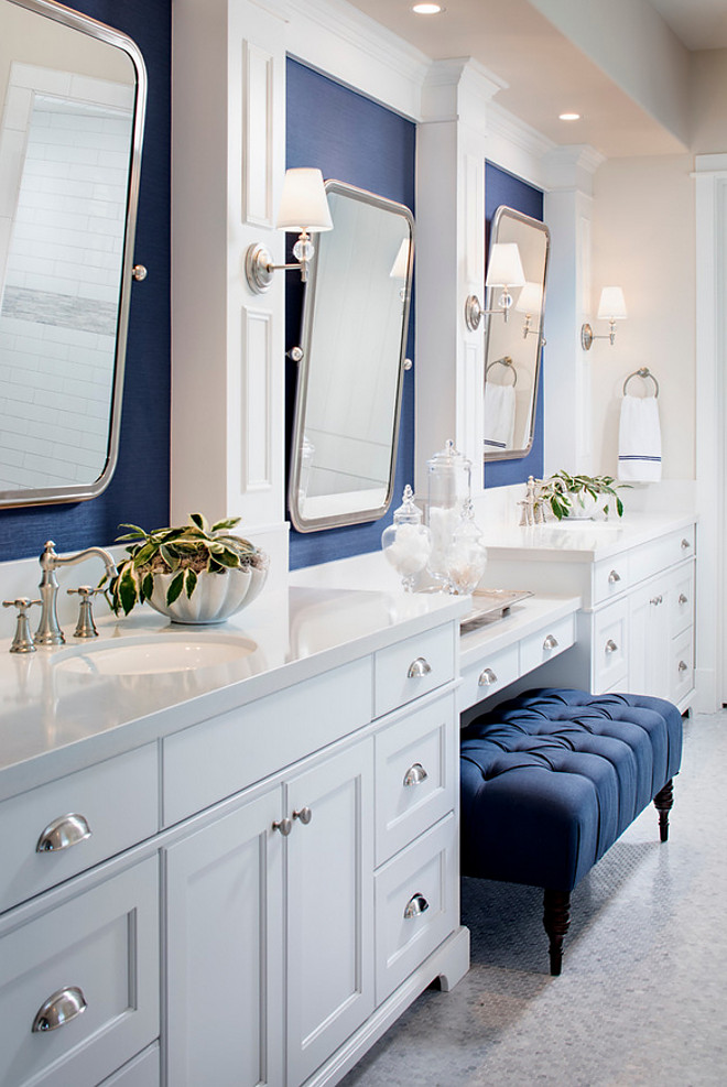 White bathroom with navy wallpaper. This white bathroom features Phillip Jeffries Manila Hemp Wallpaper in a navy color. white-bathroom-with-navy-wallpaper #whitebathroom #PhillipJeffries #ManilaHemp #Wallpaper #navycolor Tracy Lynn Studio