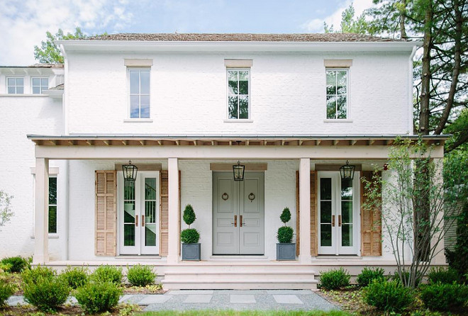 Brick Exterior Home with Grey Door & Shutters white-brick-house-with-grey-front-door-grey-front-door-paint-color-is-cape-may-cobblestone-from-benjamin-moore Kate Marker Interiors