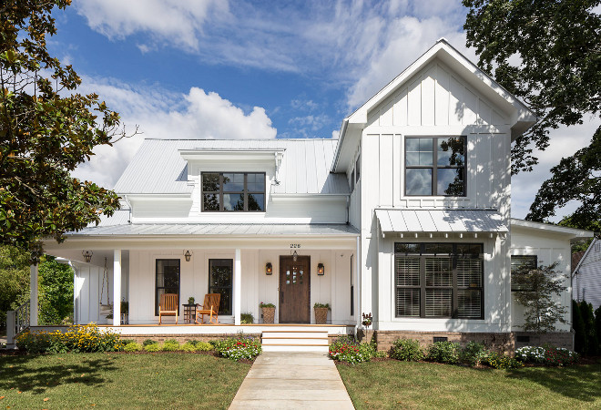 White farmhouse with board and batten exterior and metal roof. White farmhouse front porch. White exterior. White farmhouse with board and batten exterior and metal roof. #Whitefarmhouse #White #farmhouse #frontporch #farmhousefrontporch #farmhouseporch #Whiteexterior #battenandboard #battenandboardexterior J Taylor Designs