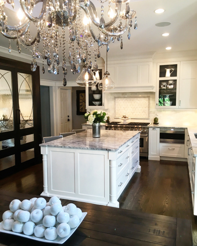 White kitchen with dark stained mirrored pantry cabinet. Kitchen. Kitchen. Kitchens Kitchen #kitchen #kitchens #kitchen Beautiful Homes of Instagram Sumhouse_Sumwear.jpg