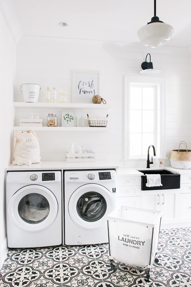 White laundry room with shiplap walls and cement floor tile. Bright white laundry room with shiplap walls and cement flooring #laundryroom #whitelaundryroom #shiplap #cementfloortile #cementtile