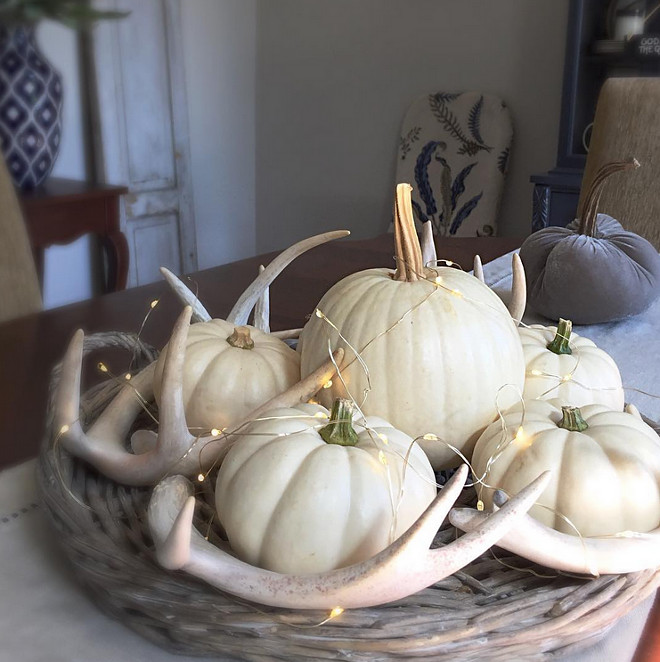 Fall Decor. Add pumpkins and antlers for an unique fall decor. Fall Interior Design Tip: Want to make your pumpkins last? Spray them with satin varnish they'll last the whole season! white-pumpkin-decor-white-pumpkins-with-antlers Kate Abt Design