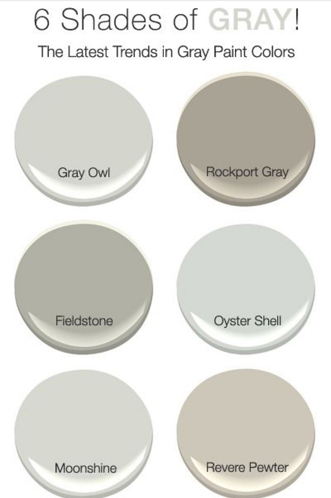 Shades of Gray by Benjamin Moore. 6 Best Gray Paint Colors by Benjamin Moore. Benjamin Moore Gray Owl. Benjamin Moore Rockport Gray. Benjamin Moore Fieldstone. Benjamin Moore Oyster Shell. Benjamin Moore Moonshine. Benjamin Moore Revere Pewter 6-best-gray-paint-color-by-benjamin-moore #BestGrayPaintColors #BenjaminMoore #BenjaminMooreGrayOwl #BenjaminMooreRockportGray #BenjaminMooreFieldstone #BenjaminMooreOysterShell #BenjaminMooreMoonshine #BenjaminMooreReverePewter