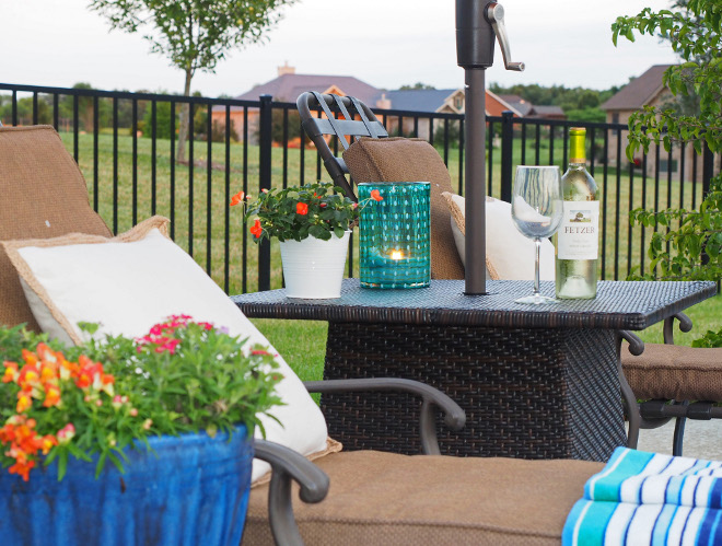 Patio Furniture. Woven umbrella table from Pier 1 Imports, Ciudad collection. #Patio #PatioFurniture Home Bunch Beautiful Homes of Instagram wowilovethat