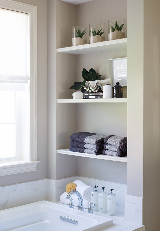 Bath niche with open shelves.. Bathroom Bath niche with open shelves. #Bathroom #Bathniche #openshelves #shelves bath-niche Cottage Home Company