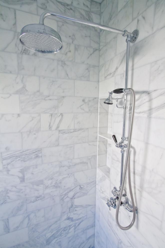 Exposed shower fixture: Lefroy Brooks. Shower walls: Calacatta marble, honed. Exposed shower fixture: Lefroy Brooks.Exposed shower fixture: Lefroy Brooks. #Exposedshowerfixture #LefroyBrooks Home Bunch Beautiful Homes of Instagram Bryan Shap @realbryansharp