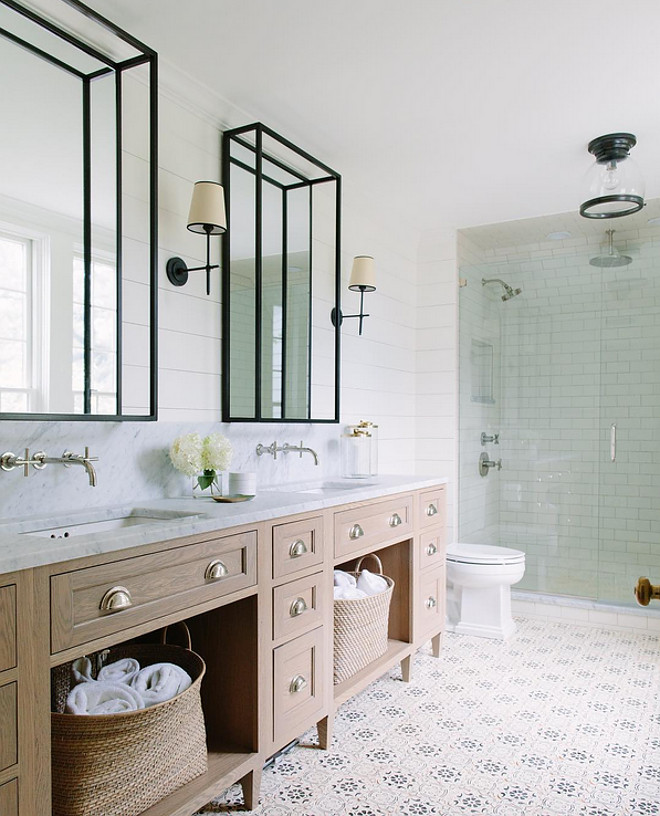 Bathroom Cement Tile and Shiplap Paneled Walls. Bathroom Cement Tile and Shiplap Paneled Walls. Bathroom Cement Tile and Shiplap Paneled Walls #Bathroom #CementTile #Shiplap #PaneledWalls bathroom-cement-tile-and-shiplap-paneled-walls Kate Marker Interiors via Instagram.