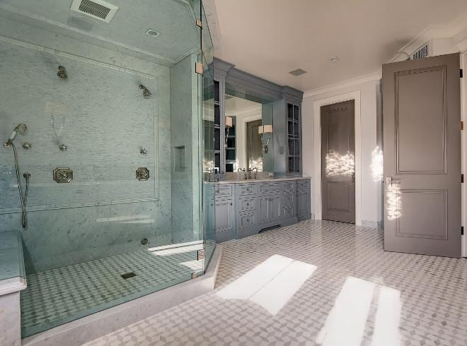 Bathroom Color Palette. Bathroom with large shower, blue grey cabinet and greige doors. #bathroom #bathroom #colorpalette  Matt Morris Development.