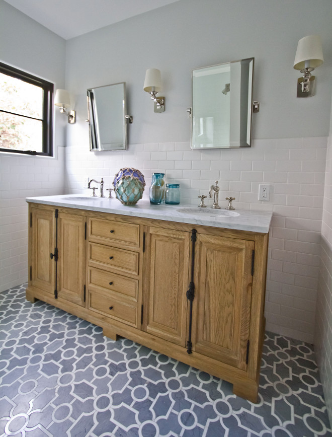 "Benjamin Moore Horizon. Benjamin Moore Horizon. Grey bathroom wall with white subway wall tile and New Ravenna, ""Chatham"" pattern in Honed Bardiglio and Polished Calacatta Marble Floor Tile #BenjaminMooreHorizon #floortile #tile #flooring #NewRavenna #Chatham #Bardiglio #marble #CalacattaMarble Home Bunch Beautiful Homes of Instagram Bryan Shap @realbryansharp"