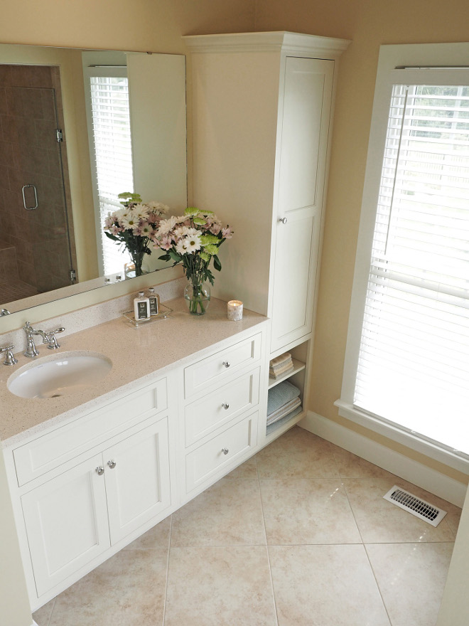 "Bathroom Quartz Countertop. Vanity for ""her"" with Cambria, Cardiff Cream countertops. #Bathroom #quartz #countertop #Cambria #CardiffCream Home Bunch Beautiful Homes of Instagram wowilovethat"