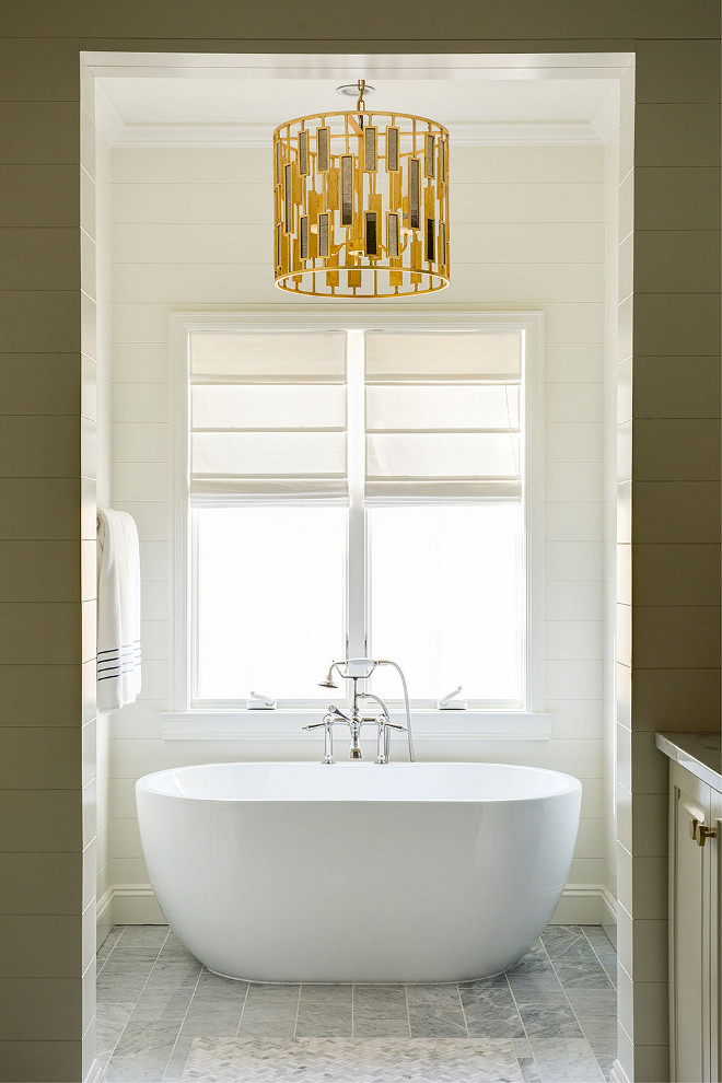 Bathroom shiplap and lighting. Bathroom shiplap and lighting ideas. Bathroom shiplap and brass lighting. #Bathroom #shiplap #brasslighting #lighting bathroom-shiplap-and-lighting J & J Design Group, LLC
