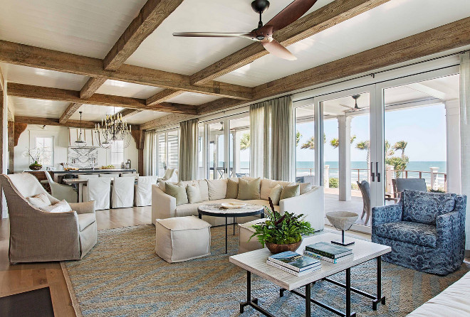 Rustic Coastal Interiors. I love the rustic coastal feel of this home. Notice the impressive ocean view! #Rusticinteriors #Coastalinteriors #rustcicoastalinteriors Herlong & Associates Architects + Interiors