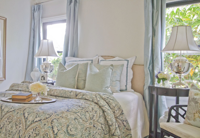 Sage Bedroom. Our warm sage guest bedroom is slightly more unexpected, yet still tranquil and relaxing. This timeless look is layered with different textures, but focuses on the details. It incorporates a prominent display of well-styled accessories that bring in a little bit more elegance, while leaving room for the eye to rest. #sage #bedroom Home Bunch Beautiful Homes of Instagram Bryan Shap @realbryansharp