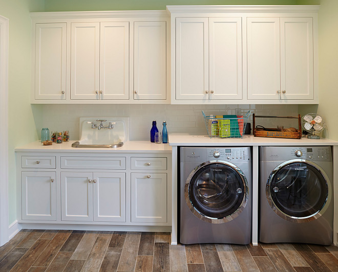 Benjamin Moore Icicle. Laundry room white cabinet paint color is Benjamin Moore Icicle. Benjamin Moore Icicle #BenjaminMooreIcicle #laundryroom #whitecabinet #paintcolor benjamin-moore-icicle Hendel Homes