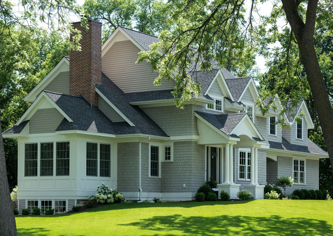 Benjamin Moore Thunder Grey exterior paint color. White trim paint color is Benjamin Moore White Dove. #BenjaminMooreThunder #Greyexteriorpaintcolor #Whitetrim #BenjaminMooreWhiteDove Hendel Homes