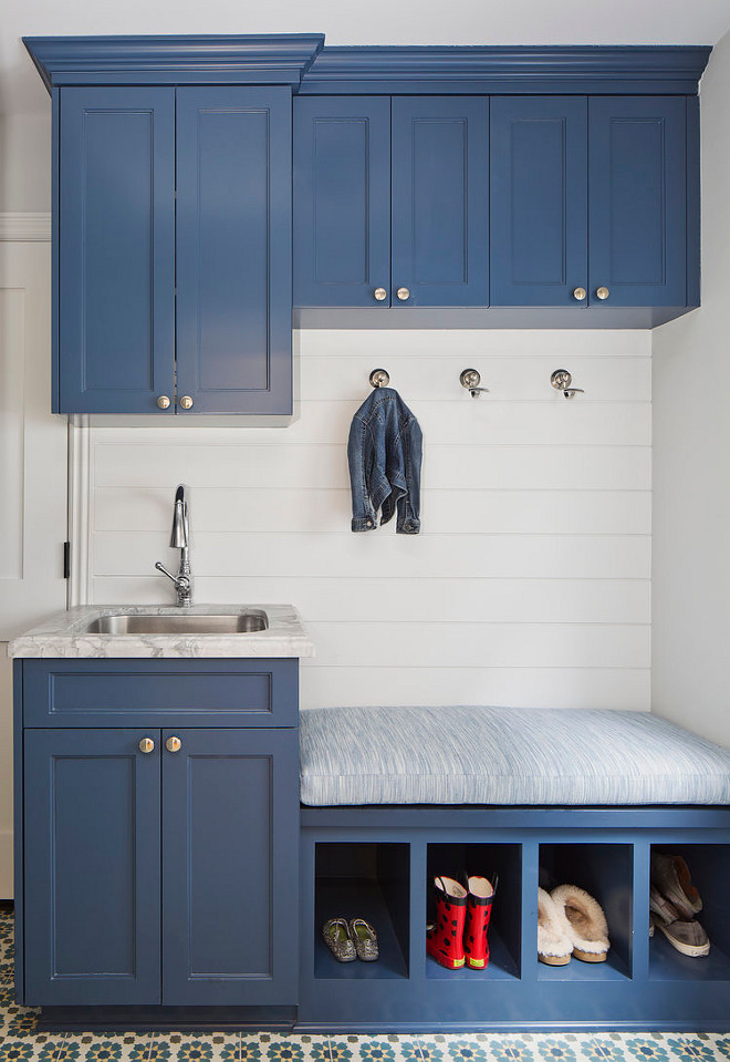 Blue Mudroom Cabinet. Blue Mudroom Cabinets with Built In Bench with Shoe Cubbies. blue-mudroom-cabinet #BlueMudroomCabinet #Bluecabinet #mudroom #Bluemudroom #cabinets #builtinbench #shoecubbies Erin Hedrick