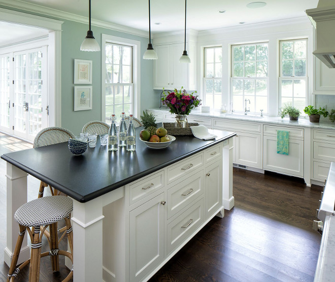 Blue green kitchen paint color. Blue green kitchen paint color is Benjamin Moore Night Mist. #Bluegree #kitchen #paintcolor #BenjaminMooreNightMist Heldel Homes