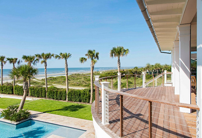 Cable deck railing. Cable deck railing. The curved upper deck features cable railing to not obscure the view. Curved deck with cable railing. #cablerailing #deckrailing cable-deck-railing