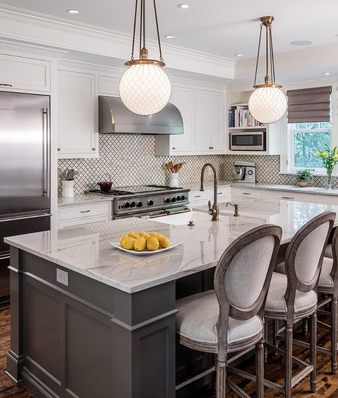 Calacatta quartzite. Kitchen countertop is Calacatta quartzite. This kitchen island is nearly 10' and features Calacatta quartzite countertop. #calacatta #quartzite #countertopcalacatta-quartzite-kitchen-countertop-is-calacatta-quartzite