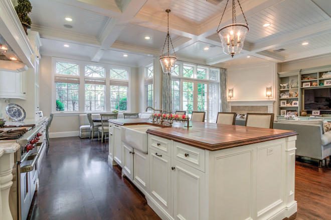 Classic kitchen with beadboard coffered ceiling. Classic kitchen with beadboard coffered ceiling opens to family room. classic-kitchen-with-beadboard-coffered-ceiling #Classickitchen #beadboardceiling #cofferedceiling Matt Morris Development