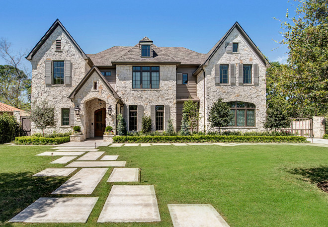 Stone home with transitional french country interiors for French country house exterior
