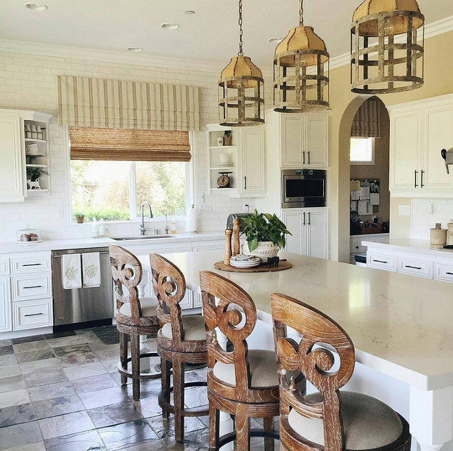 Creamy White Kitchen with Rustic Lighting. Creamy White Kitchen with Rustic Lighting #CreamyWhite #Kitchen #RusticLighting creamy-white-kitchen-with-rustic-lighting Tracy Lynn Studio Design via Instagram.