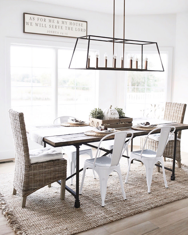Farmhouse dining room. Casual Farmhouse dining room with linear chandelier. Farmhouse dining room. Farmhouse dining room. Farmhouse dining room #Farmhousediningroom #Farmhouse #diningroom #casualdiningroom Beautiful Homes of Instagram @nc_homedesign via Home Bunch