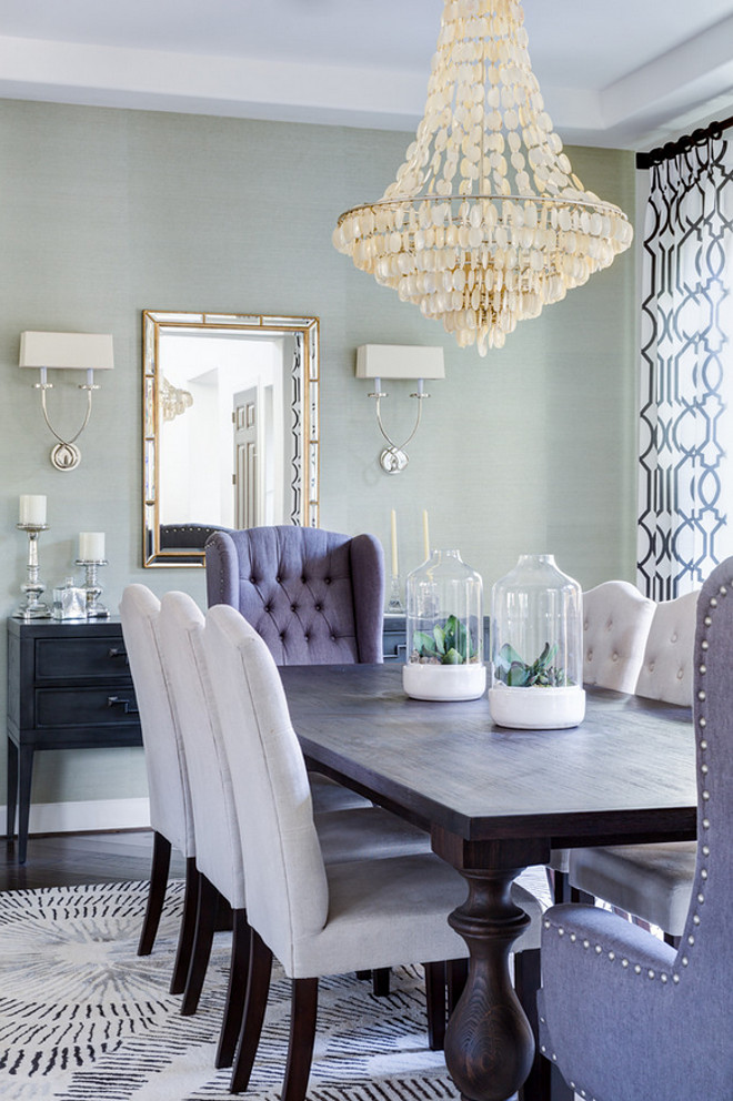 Dining room with grasscloth wallpaper. Dining room with grasscloth wallpaper and coastal lighting. #Diningroom #grassclothwallpaper #coastallighting dining-room-with-grasscloth-wallpaper J & J Design Group, LLC