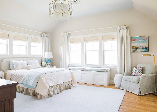 Bedroom paint color. The walls are Benjamin Moore Edgecomb Gray #HC-173 and the ceiling is Benjamin Moore Quiet Moments #1563. #Bedroom #paintcolor #BenjaminMooreEdgecombGrayHC173 #BenjaminMooreEdgecomb #Benjaminmoorequietmoments May Interiorsedgecomb-gray-hc-173-and-the-ceiling-is-quiet-moments-1563
