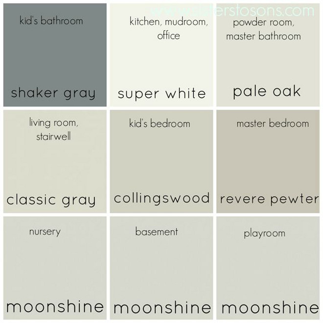 Whole Neutral Color Palette. Entire Home Neutral Color Palette with Paints by Benjamin Moore: Benjamin Moore Shaker Gray. Benjamin Moore Super White. Benjamin Moore Pale Oak. Benjamin Moore Classic Gray. Benjamin Moore Collingswood. Benjamin Moore Revere Pewter. Benjamin Moore Moonshine. entire-home-neutral-color-pallet