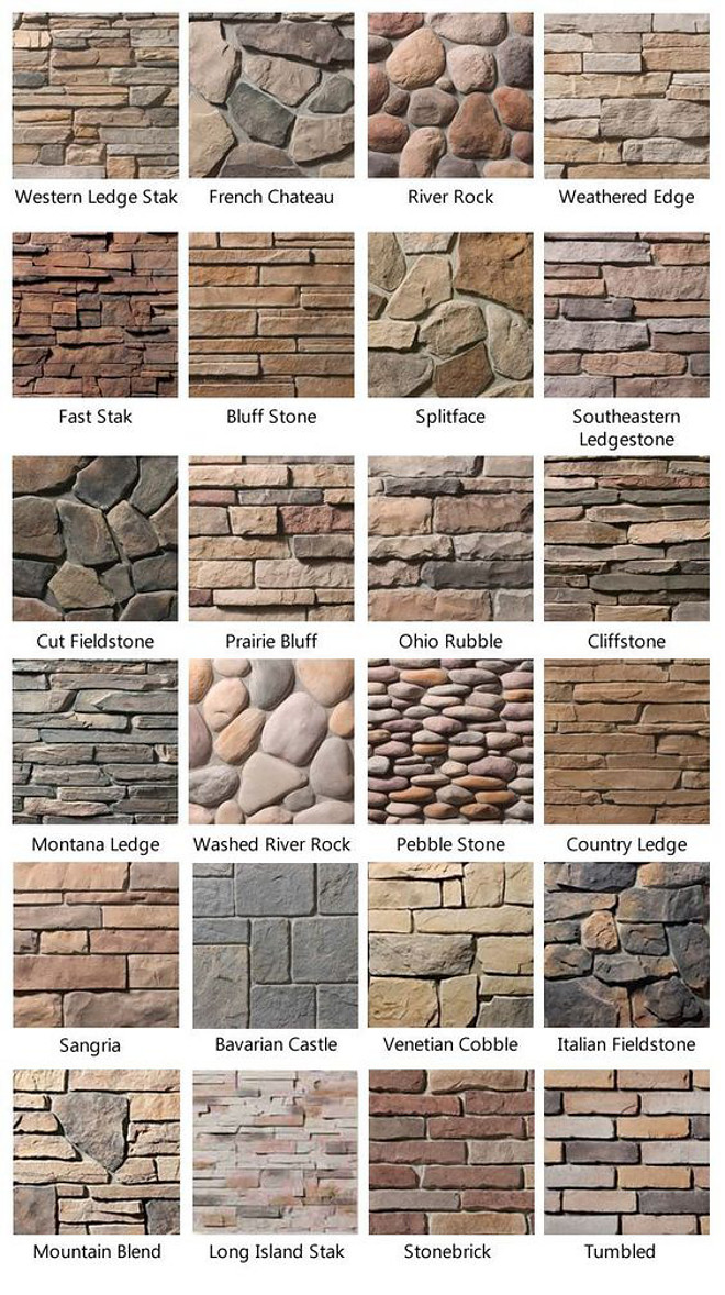 Stone Types. How to choose stone for your home exterior, fireplaces and more. Stone Type Photos. List of Stone Types. Western Legde Stak Stone. French Chateau Stone. River Rock Stone. Weathered Edge Stone. Weathered Edge Stone. Fast Stack Stone. Bluff Stone. Splitface stone. Southeastern Ledgestone. Cut Fieldstone. Prairie Bluff Stone. Ohio Rubble Stone. Cliffstone. Montana Ledge Stone. Washed River Rock Stone. Washed River Rock. Pebble Stone. Country Ledge Stone. Sangria Stone. Bavarian Castle Stone. Venetian Cobble Stone. Italian Fieldstone. Mountain Blend Stone. Long Island Stak Stone. Stonebrick. Tumbled stone #stone #stonetypes #exteriorstone #fireplacestone #stones #WesternLegdeStak #FrenchChateau #RiverRock #WeatheredEdge #FastStack #Bluffstone #splitfacestone #SoutheasternLedgestone #CutFieldstone #PrairieBluff #OhioRubble #Cliffstone #MontanaLedge #WashedRiverRock #WashedRiverRock #PebbleStone #CountryLedge #Sangria #BavarianCastle #VenetianCobble #ItalianFieldstone #MountainBlend #LongIslandStak #Stonebrick #Tumbled