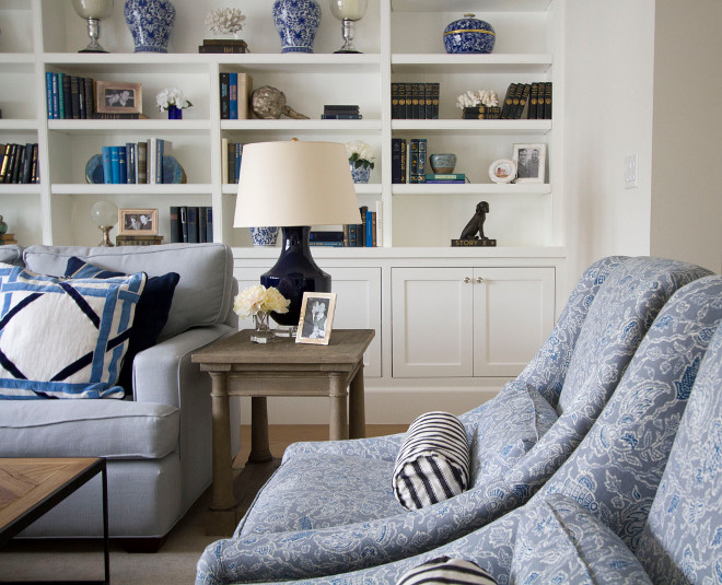 "Layered Living room. We layered different textures —in a variety of bright and lively colors, sometimes in elegantly adorned accents. The gentle swoop arms on the accent chairs, with punches of pattern, accentuate our California-happy charm. Accent Chair Upholstery: Barclay Butera for Kravet. Wall Color: Benjamin Moore ""White Dove"". #layred #livingroom #whitedove #benjaminmoore Home Bunch Beautiful Homes of Instagram Bryan Shap @realbryansharp"