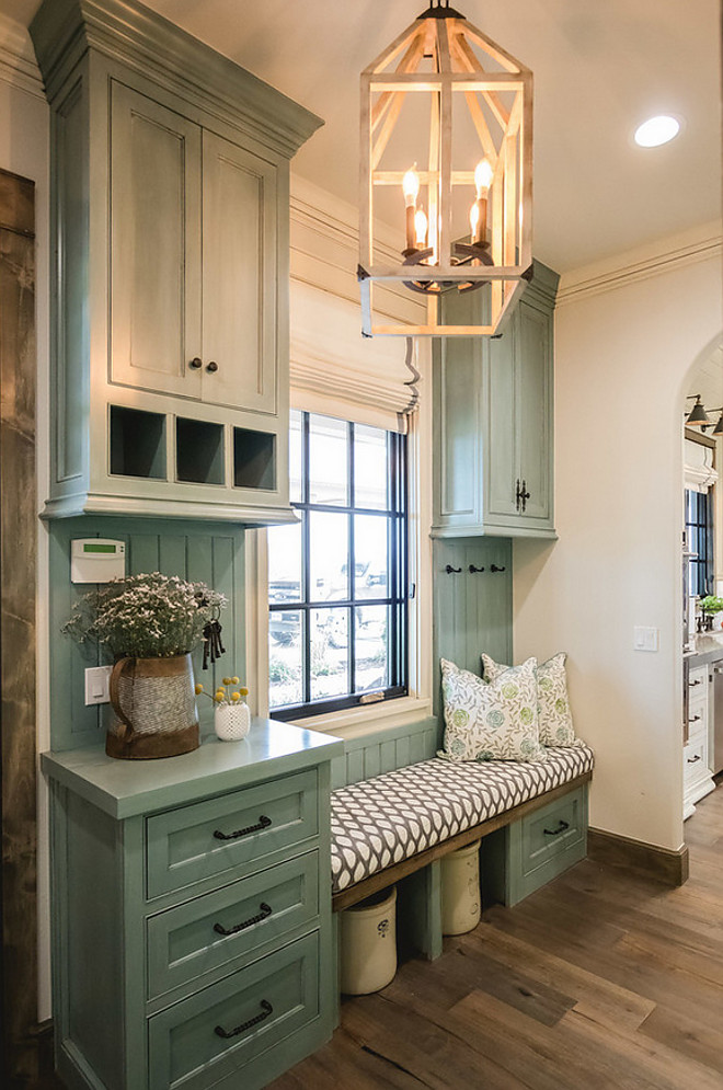 Farmhouse Mudroom with Window Seat. Farmhouse Mudroom with Window Seat and Blue Grey Cabinets. Farmhouse Mudroom with Window Seat #FarmhouseMudroomWindowSeat #FarmhouseMudroom #WindowSeat #Farmhouse #Mudroom #WindowSeat Alicia Zupan